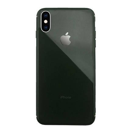 Чехол для iPhone XS Max Glass Silicone Case Logo green, фото 2