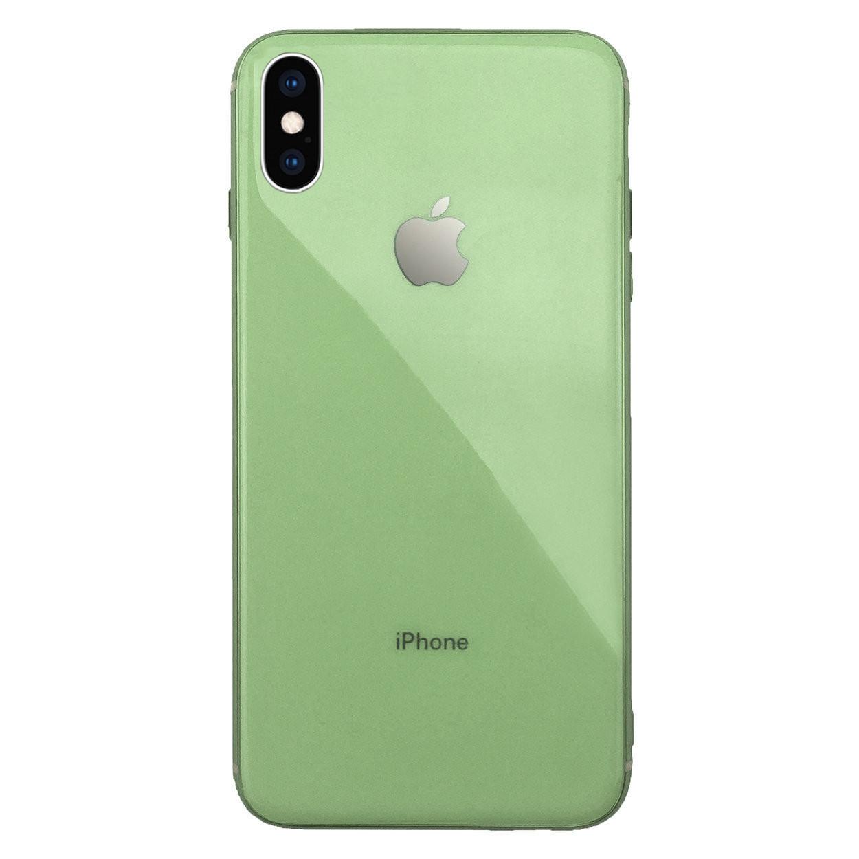 Чехол для iPhone XS Max Glass Silicone Case Logo mint gum