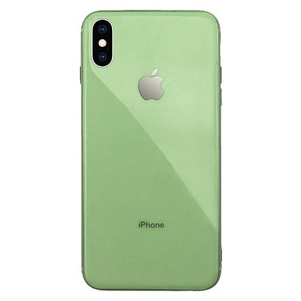 Чехол для iPhone XS Max Glass Silicone Case Logo mint gum, фото 2