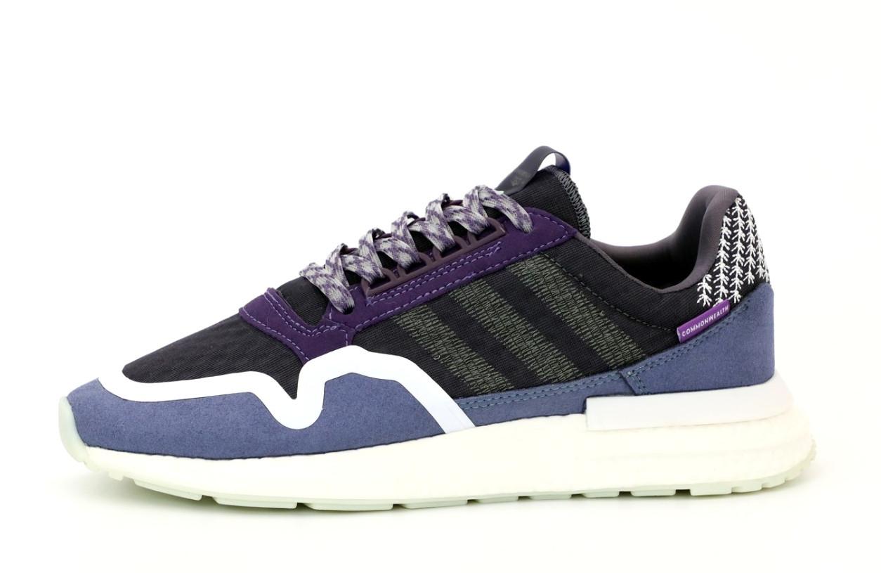 Мужские кроссовки Adidas ZX 500 (сине-черные) 12192