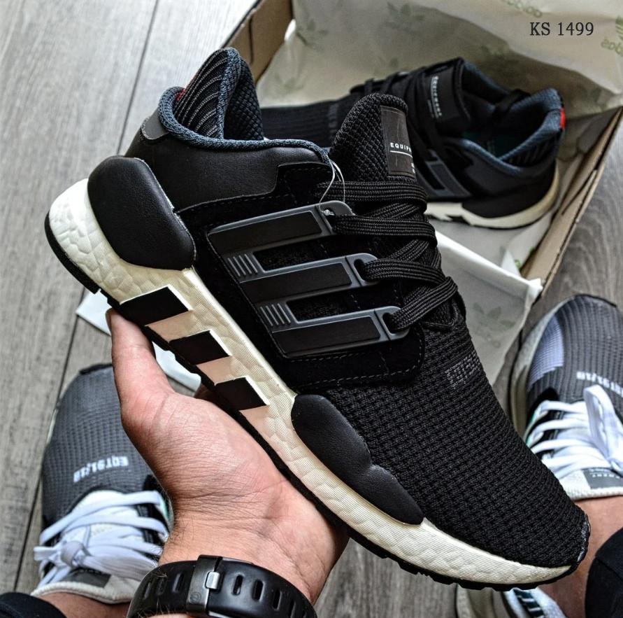 Мужские кроссовки Adidas EQT Support 91/18 black (черно/белые) KS 1498