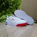 Женские весенние кроссовки Puma cali (бело-красные с синим) О20154 удобные легкие кеды, фото 5