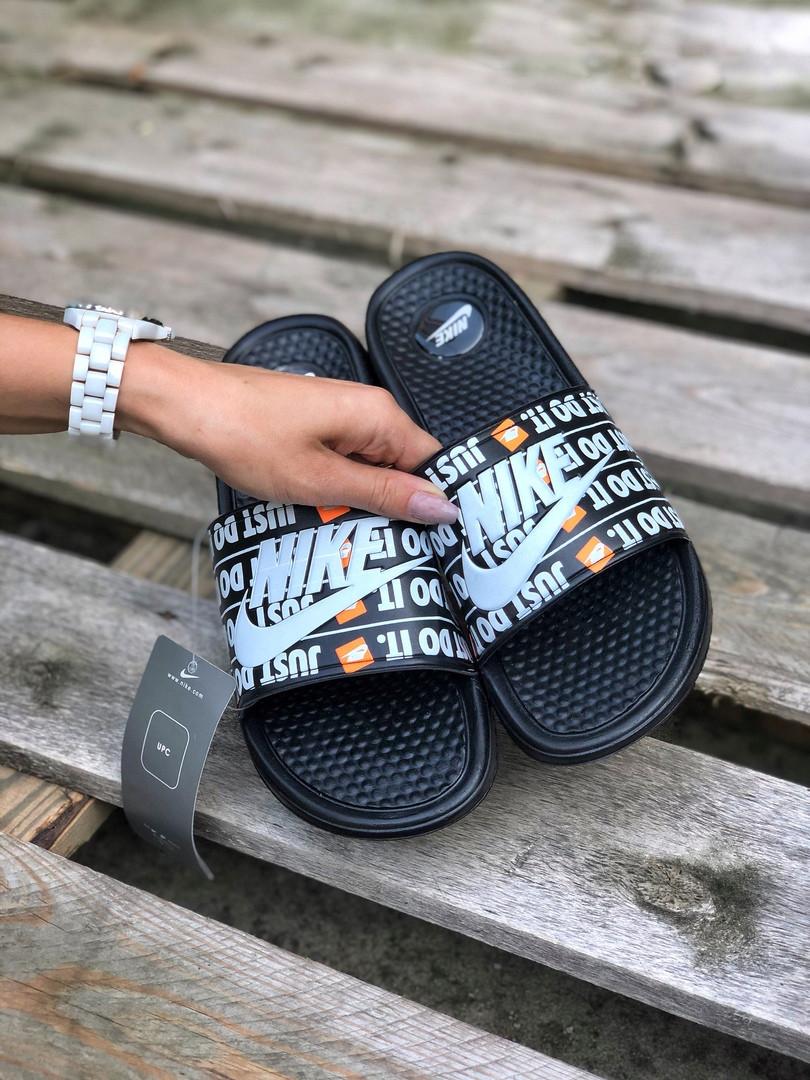 Мужские шлепанцы на лето Nike Just Do IT массажные (черные) 218