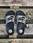 Мужские шлепанцы на лето Nike Just Do IT массажные (черно-белые) 217, фото 3