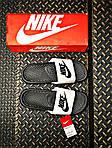 Мужские массажные шлепанцы на лето Nike Benassi (черно-белые) 201, фото 2