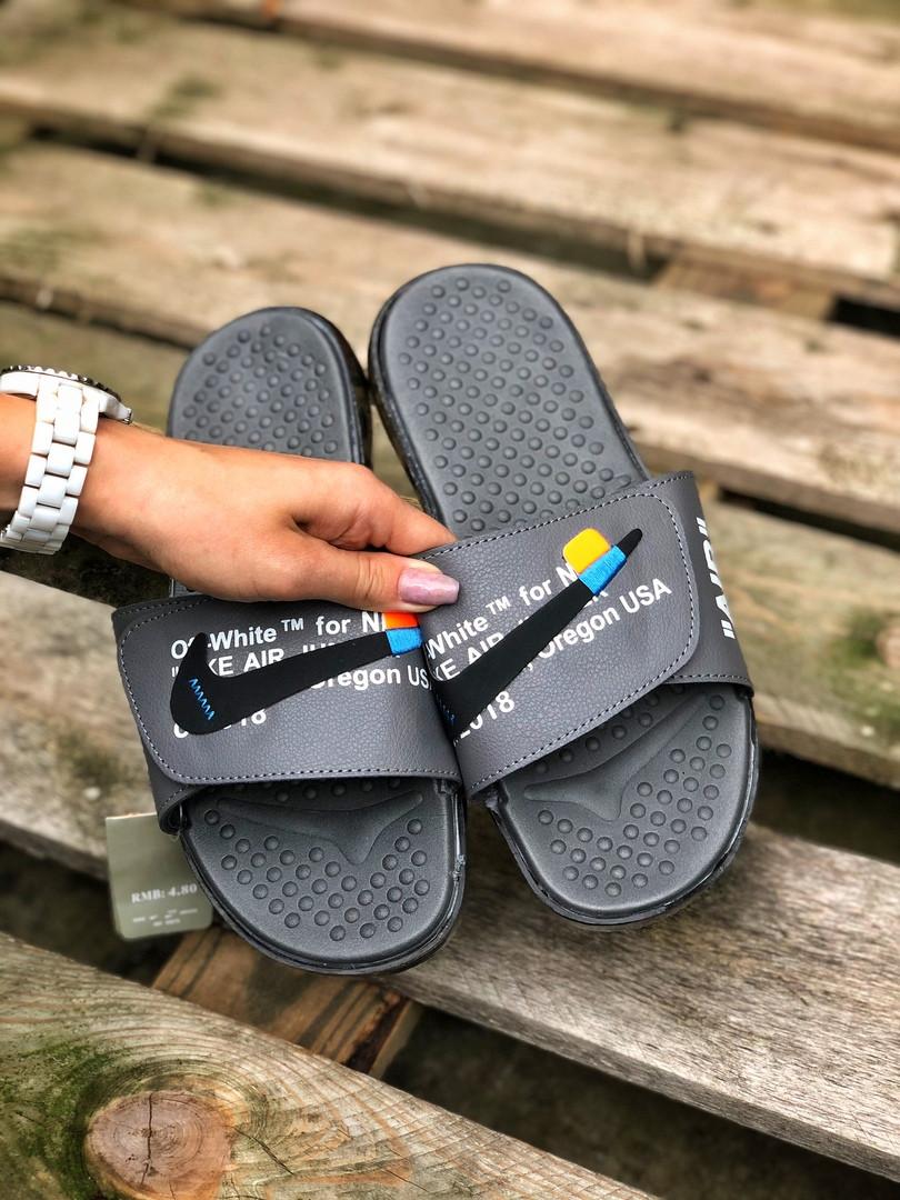 Чоловічі літні шльопанці Nike&Off White (сірі) 215