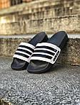 Мужские летние шлепанцы Adidas (черно-белые) 207, фото 2