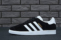 Женские кроссовки Adidas Gazelle (черно-белые) 11205 - Унисекс