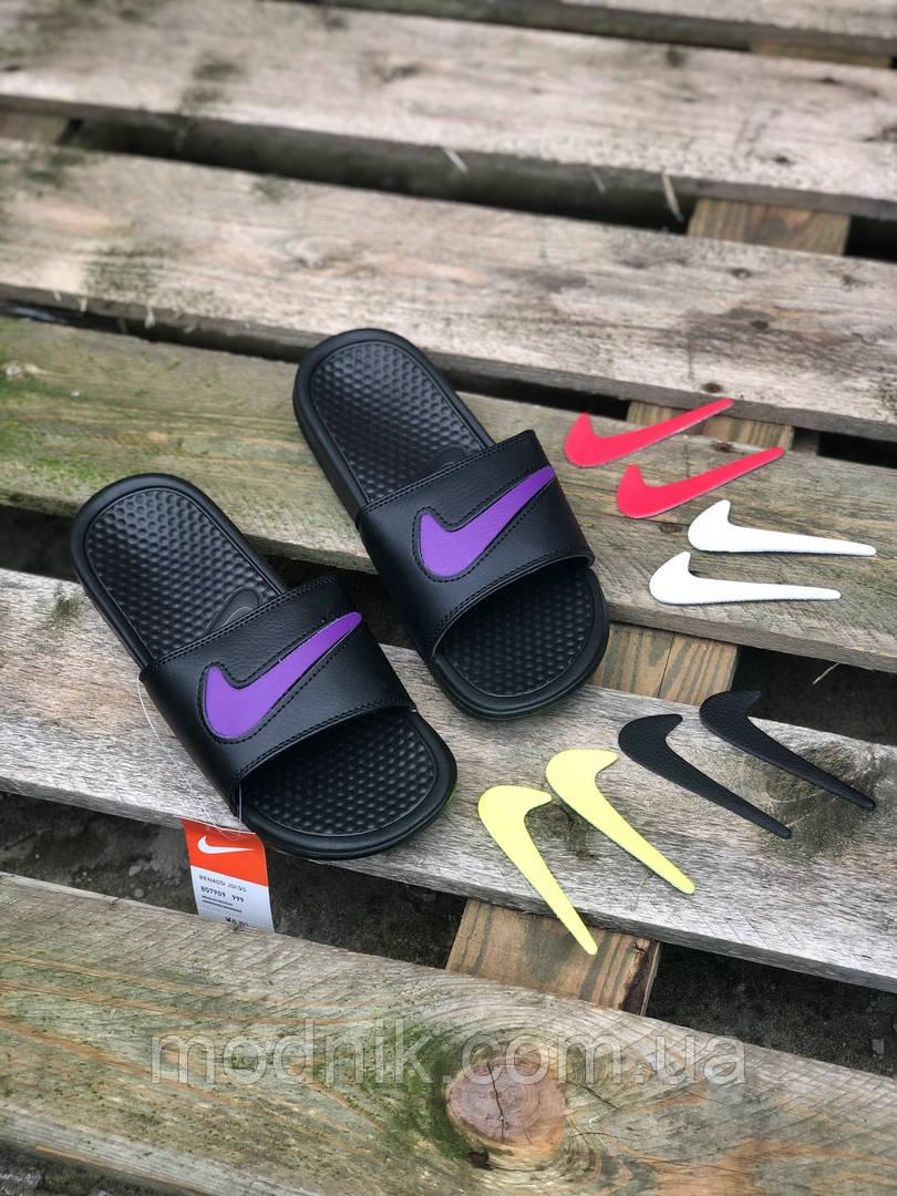 Мужские летние шлепанцы Nike со сменными свишами (черные) 211