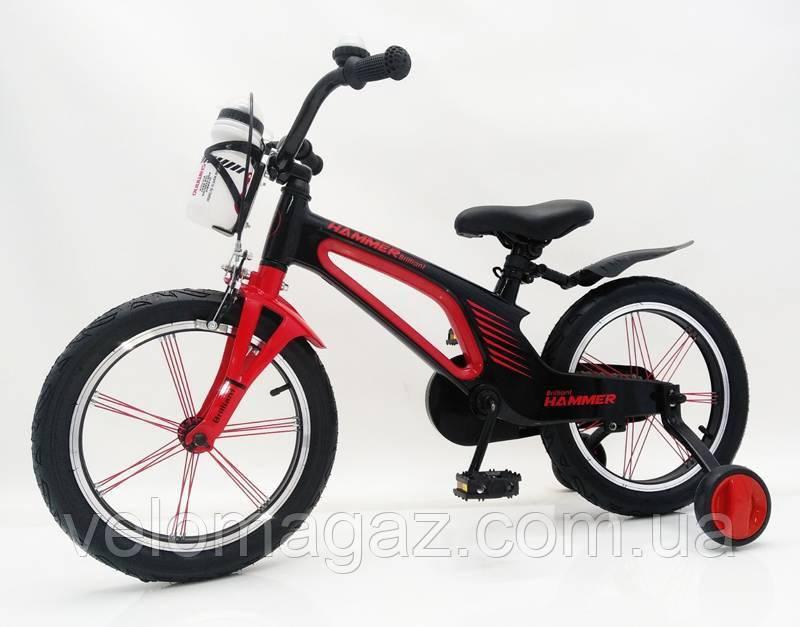 """Дитячий магнієвий велосипед 16"""" Brilliant HMR-880, чорно-червоний"""