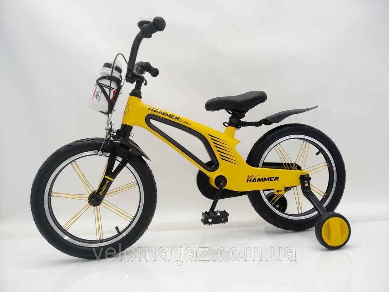 """Детский магниевый велосипед 16"""" Brilliant HMR-880, желтый"""