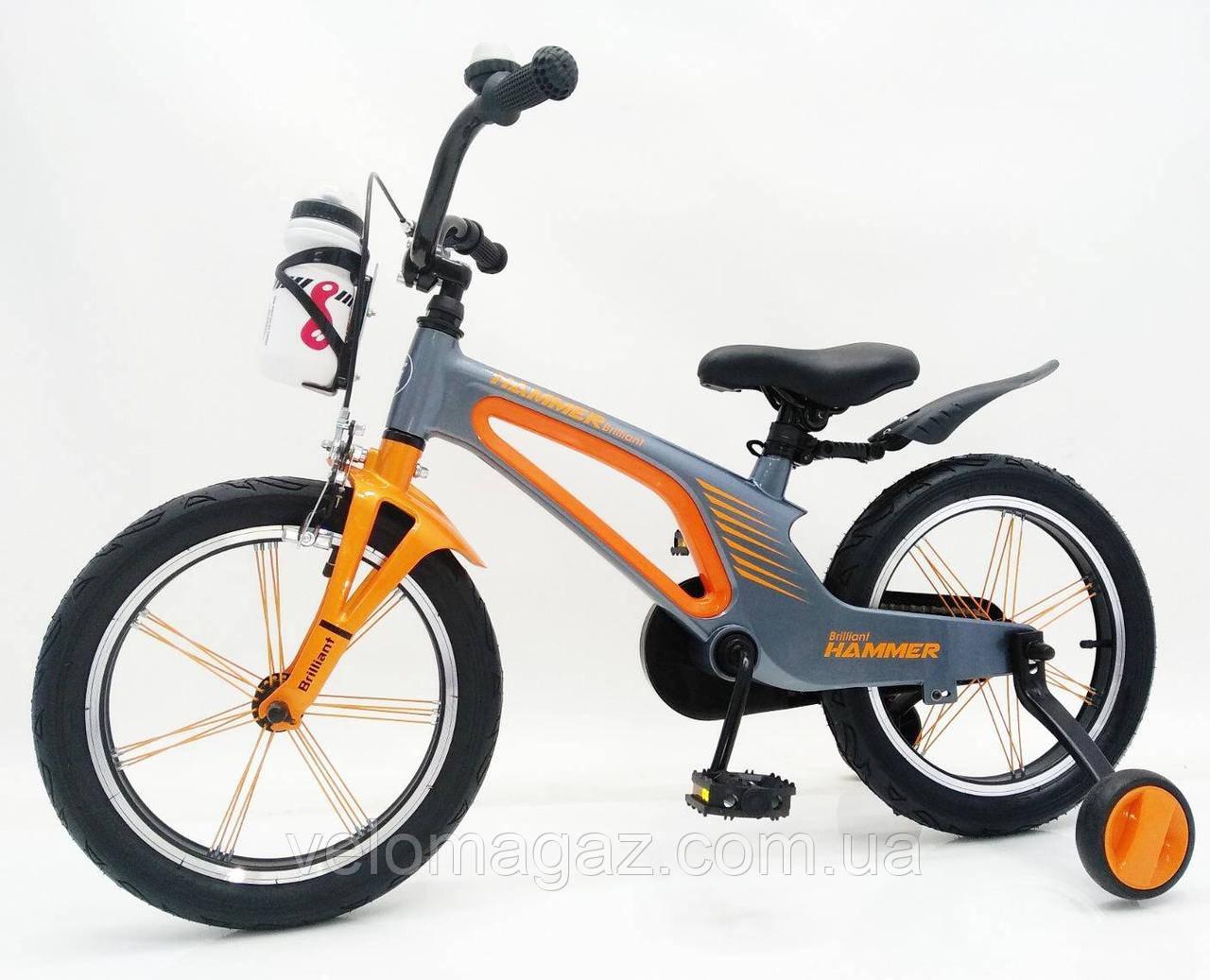 """Дитячий магнієвий велосипед 16"""" Brilliant HMR-880, сріблясто-помаранчевий"""