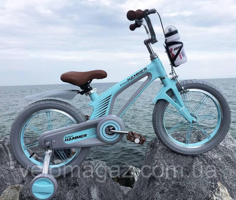 """Детский магниевый велосипед 16"""" Brilliant HMR-880, бирюзовый"""