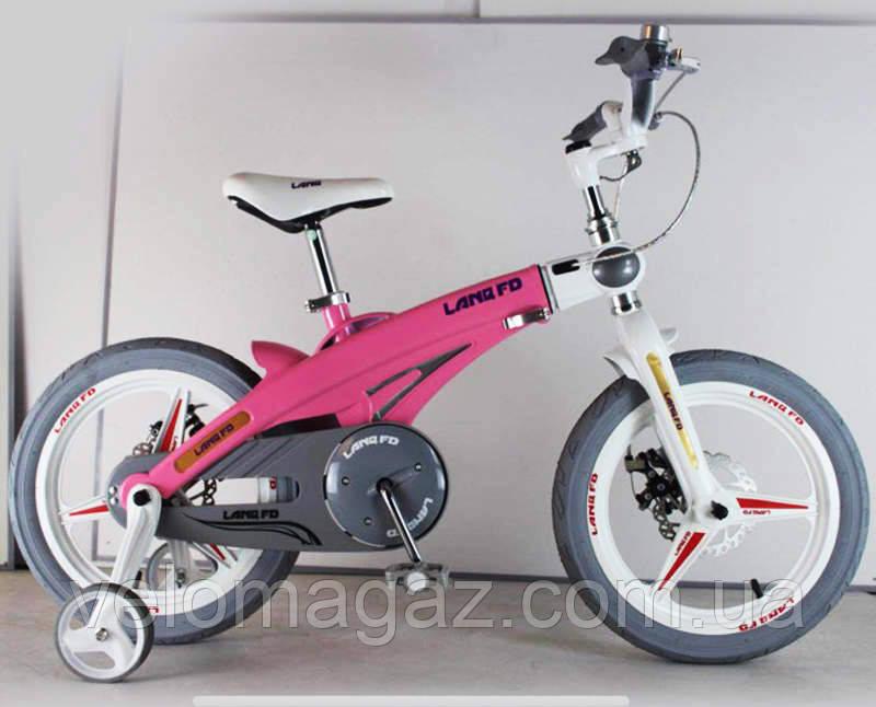 Дитячий магнієвий велосипед, рама і магнієві диски, SIGMA 16-40G, рожевий, з додатковими колесами