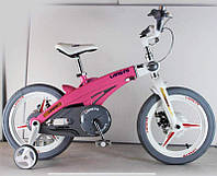 Дитячий магнієвий велосипед, рама і магнієві диски, SIGMA 16-40G, рожевий, з додатковими колесами, фото 1