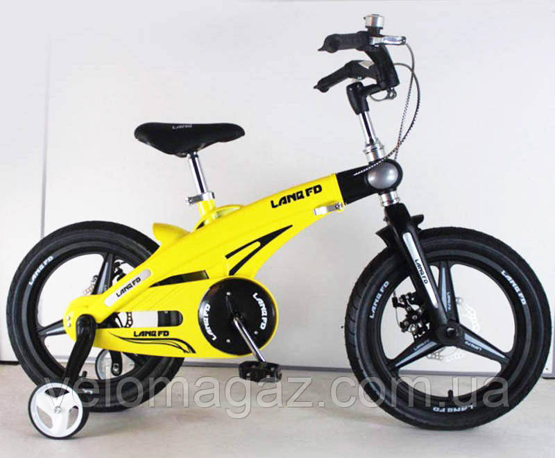 Дитячий магнієвий велосипед, рама і магнієві диски, SIGMA 16-40G, жовтий, з додатковими колесами