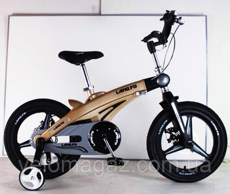 Дитячий магнієвий велосипед, рама і магнієві диски, SIGMA 16-40G, бронзовий колір, з додатковими колесами