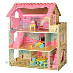 Кукольный домик MD 2203  деревянный с мебелью и аксессуарами, 3 этажа, 61х70х30 см PS