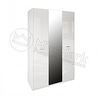Шафа 3Дв з дзеркалом спальний набір Імперія, білий глянець, МИРОМАРК
