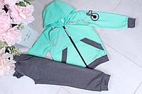 Спортивный костюм детский #42129. Размеры 122-152. Мята. Оптом