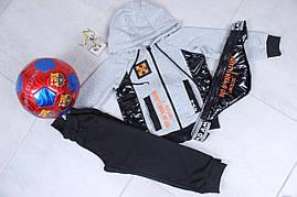 Спортивный костюм детский #42130. Бананка в комплекте. Размеры 98-128. Серый. Оптом