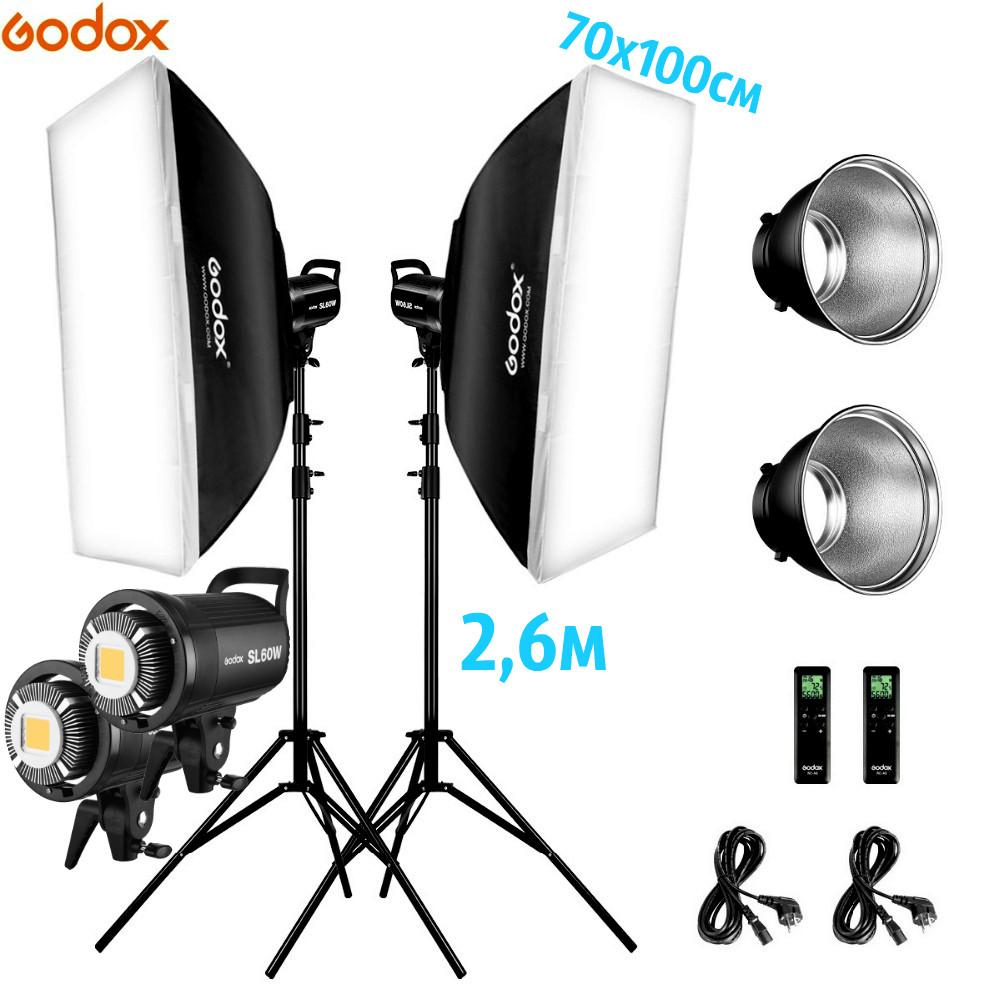 1,2 kW Комплект Godox LED професійного постійного видеосвета SL60-2SB710
