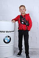 Спортивный костюм детский #42130. Бананка в комплекте. Размеры 134-164. Красный. Оптом
