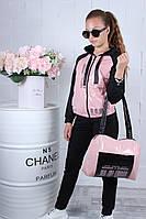 Спортивный костюм детский #42132. Сумка в комплекте. Размеры 134-164. Розовая пудра. Оптом