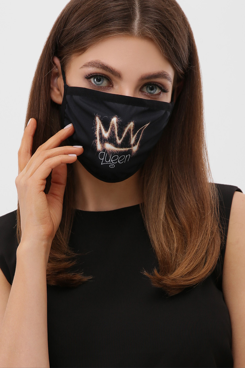 Многослойная маска черного цвета со значком королева