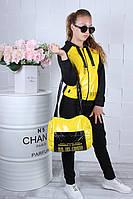 Спортивный костюм детский #42132. Сумка в комплекте. Размеры 134-164. Желтый. Оптом