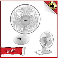 Вентилятор электрический бытовой настольный Domotec MS-1624 для дома и офиса, 2 скорости
