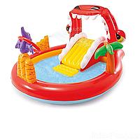 Надувной игровой центр, детский бассейн с горкой Intex 57163 «Динозавр»