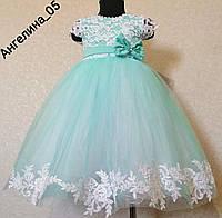 Мятное нарядное детское платье Ангелина бирюзовое пышное платье на рост 104-116