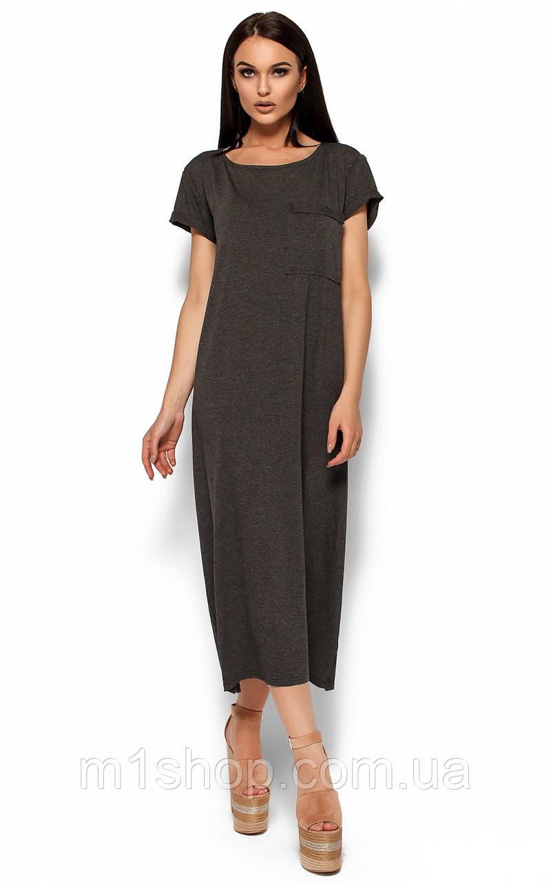 Свободное прямое вискозное темно-серое платье-футболка оверсайз (Гвинет kr)
