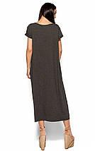 Свободное прямое вискозное темно-серое платье-футболка оверсайз (Гвинет kr), фото 3