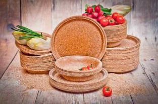 Одноразовая посуда из отрубей - Эко-тарелка Biotrem, 24 см 10 шт