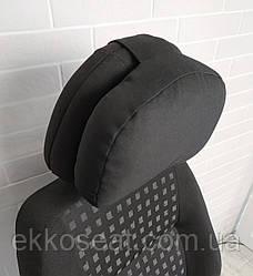 Подушка на подголовник в авто EKKOSEAT. Объемно-каркасная. Черная.
