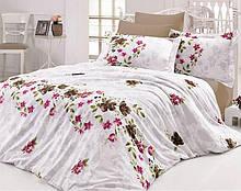 Комплект постельного белья Nazenin Nerissa Kahve Евро Сатин 200х220 см Белый psgSA-4327, КОД: 944325