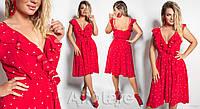 Удобное модное женское летнее платье в горошек на запах больших размеров 48 - 58