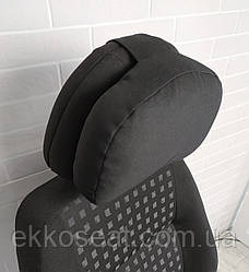 Подушка в дорогу EKKOSEAT на подголовник в авто. Объемно-каркасная. Черная.