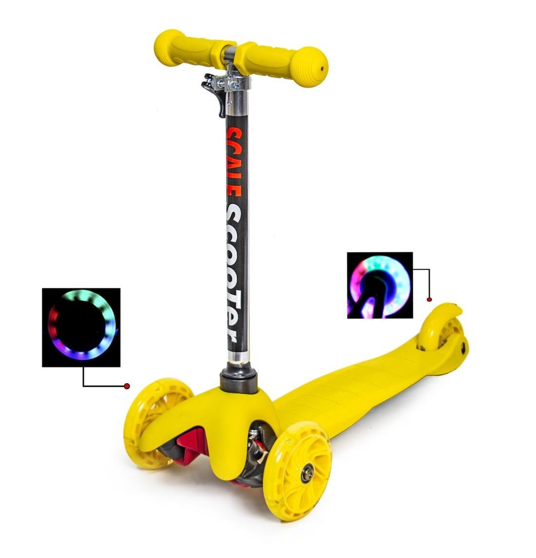 Детский трехколесный самокат   oter Mini (Желтый) (светящиеся колеса)