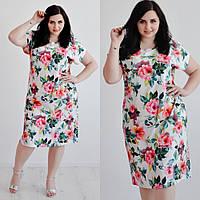 Платье женское летнее легкое с розами большие размеры 48,50,52 от производителя