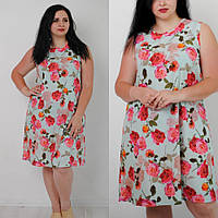 Красивое летнее платье для полных, размер 48,50,52 от производителя