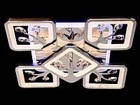 Светодиодная люстра с квадратами и камушками до 18 Кв  цвет хром 110W Диаша&S8157/4+1HR LED 3color dimmer