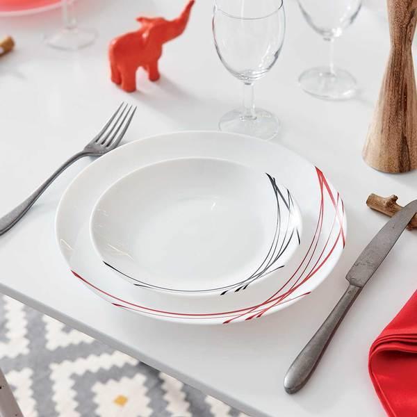 Сервиз столовый ARCOPAL Domitille Rouge, 18 предметов P3363