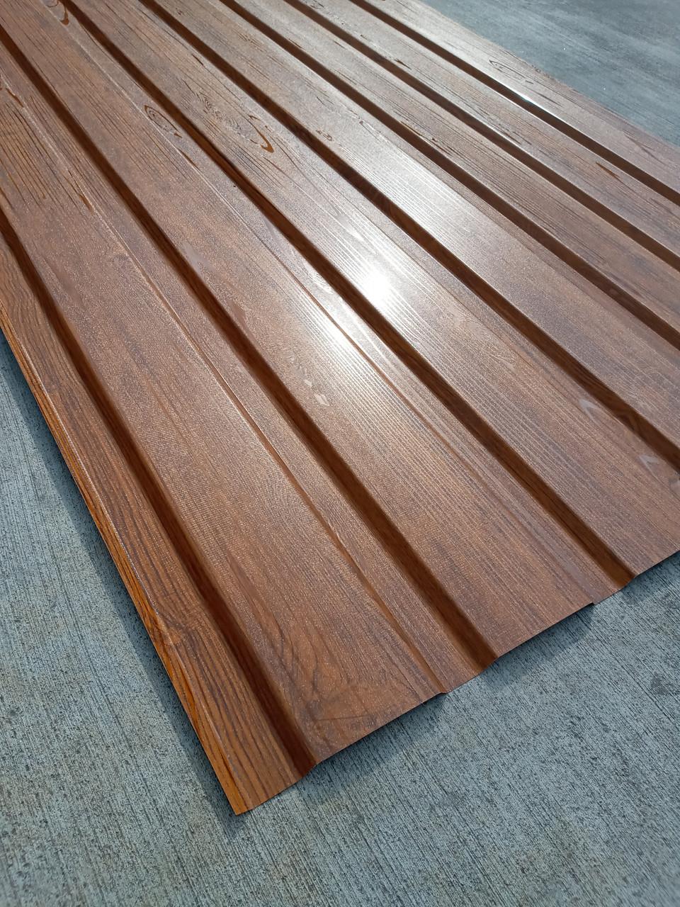 Профнастил с объемным рисунком  дерева 3D wood, размер листа 1,50мХ1,16м