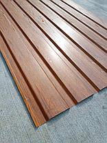 Профнастил с объемным рисунком  дерева 3D wood, размер листа 1,50мХ1,16м, фото 2