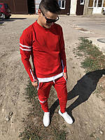 😜 Спортивный костюм -Стильный мужской спортивный костюм красного цвета верх свитшот