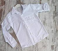 Школьная детская рубашка для мальчиков с карманом 5-8 лет, белого цвета