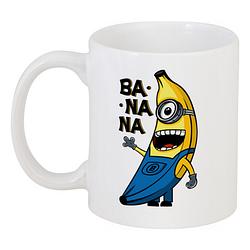 Кружка Fat Cat Миньон - Banana (белая)